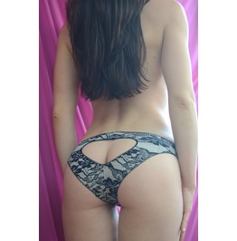 The Lace Print Black Jersey Heart Panties Handmade Made To Order