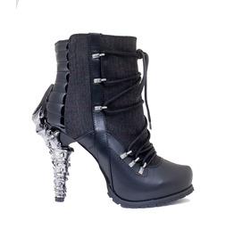 Hades Shoes Shade Biker Inspired Ankle Boots W/ Adjustable Front Laces