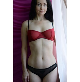 The Sheer Cup Underwire Red Tulle Bra Handmade To Order