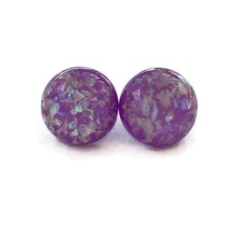Vintage Style Purple Confetti Lucite Earrings, Nickel Free Post Earrings