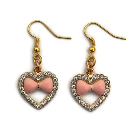 Gold Heart And Rhinestone Earrings With Pink Enamel Bow