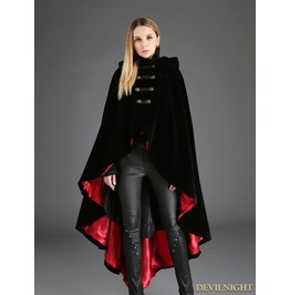 Black Gothic Female Woolen Long Hoodie Coat M080034 R