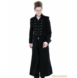 Black Gothic Male Palace Style Overlength Hoodie Coat M080046 Laine1