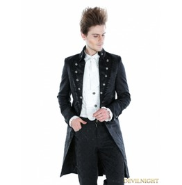 Black Gothic Palace Style Long Jacket For Men M080042 Noir1
