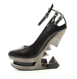 Hades Shoes Sheen Patent Leather Iceberg Wedge Pump