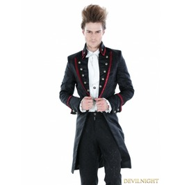 Black Gothic Palace Style Mens Long Jacket With Red Hem M080042 Rouge1