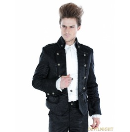 Black Gothic Palace Style Mens Short Jacket M080044 Noir1