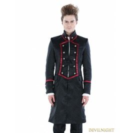 Black Gothic Military Style Male Long Coat With Red Hem M080053 Rouge1