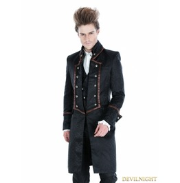 Black Gothic Military Style Male Long Coat With Coffee Hem M080053 Marron1
