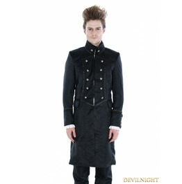 Black Gothic Military Style Male Long Coat M080053 Noir1