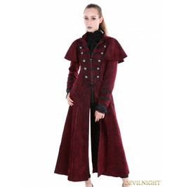 Red Gothic Military Style Long Hoodie Cape Coat For Women M080048 Rd