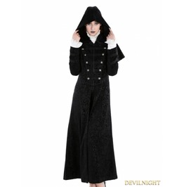 Black Gothic Military Style Long Hoodie Cape Coat For Women M080048 Bk