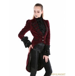 Red Gothic Palace Style Velvet Coat For Women M080047