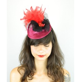 Headpiece Cocktail Pillbox Hat With Peacock Bird Red Feathers And Glitter