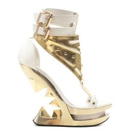 Hades Shoes Solara Open Toe Gold Wedge Platform Iceberg Heel