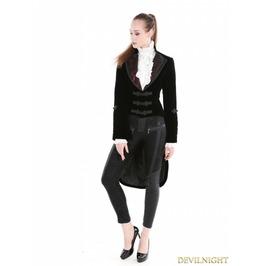 Black Gothic Velvet Vintage Coat For Women M080061 R1