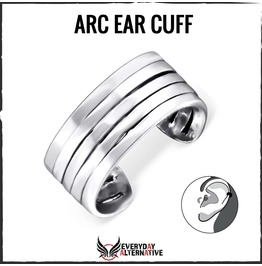Arc Ear Cuff, 925 Sterling Silver Oxidised Finish Stacked Ring Design