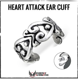 Hear Attack Ear Cuff, 925 Sterling Silver Oxidised Filigree Heart Design