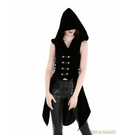 Black Gothic Military Womens Long Vest With Hood
