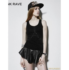 Gothic Dark Basic Rivet Vest For Women T 409