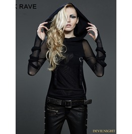 Gothic Dark Fashion T Shir With Big Hood For Women T 407