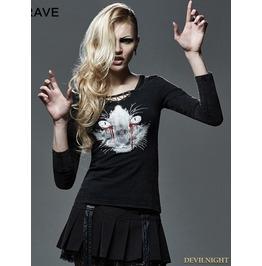 Black Gothic Women Punk With Bleeding Cat T Shirt T 400