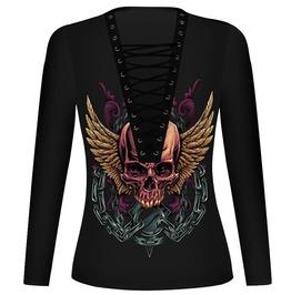 Front Tie Up Skull Print Black T Shirt V3