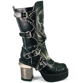 Hades Shoes Spawn Knee High Punk Boots W/ Crisscrossed Biker Chains