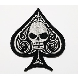 Embroidered Spade Skull Rock Sew On Or Iron On Patch. High Quality.