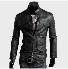Multi Pocketed Slim Pu Leather Jacket