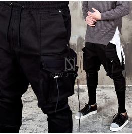 Long Strap Big Cargo Black Sweatpants 229