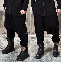 Deep Low Crotch Black Knit Baggy Sweatpants 230