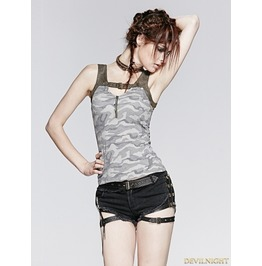 Gothic Vintage Gamouflage Knit Sleeves Vest For Women T 388
