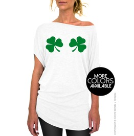 Chest Clovers, Ladies Slouchy Tunic Tee Shirt