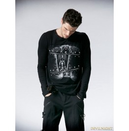 Black Gothic Printing Man T Shirt With Segmental Zipper T 366