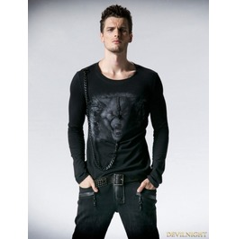 Black Gothic Man Long Sleeves T Shirt With Wolf Printing T 365