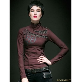 Red And Black Gothic Steampunk Women Long T Shirt T 362 Rd