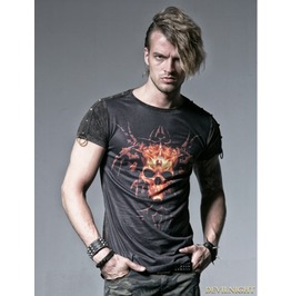 Black Gothic Male Short T Shirt With Skull Digital Printing T 356