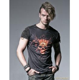 Black Gothic Male Short T Shirt With Skull Digital Printing T 356