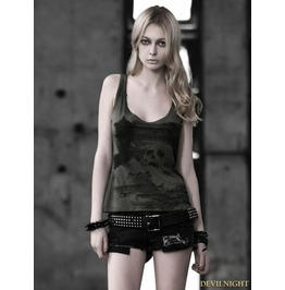 Dark Green Gothic Punk Women Skull Pattern Vest T 349