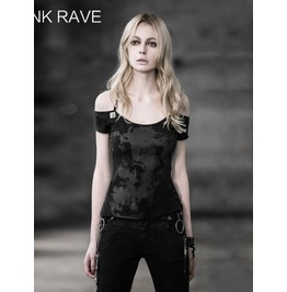 Black Gothic Punk Basic Metal Chains Short T Shirt For Women T 347