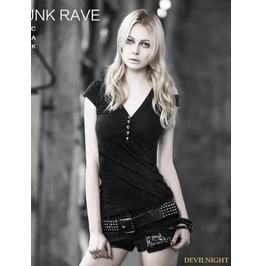 Black Gothic Female Asymmetric Style Short T Shirt T 345