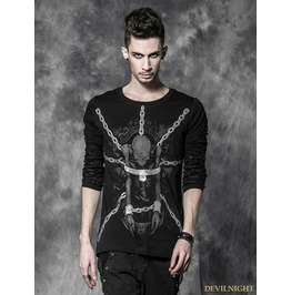 Male Gothic Black T Shirt With Binded Skull Pattern T 337