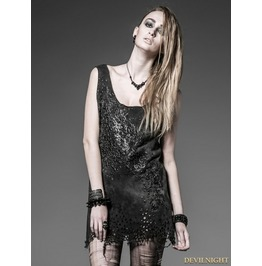 Black Gothic Punk Hole Vest With Abstract Printing For Women T 336