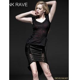 Black Red Dark Gothic Printing Shrapless T Shir For Women T 332
