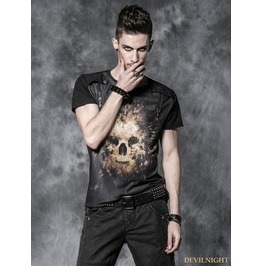 Black Gothic Men Short Tee With Digital Printing And Wash By Old Way T 330