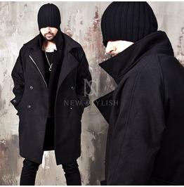 Double Collar Accent Black Coat 126