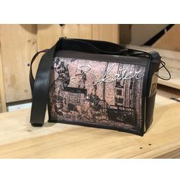 Student, Skater Print, Benga Rabbit, Black Vegan Leather Messenger Bag