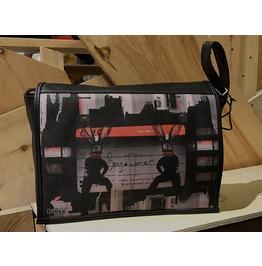 Student, Benga Woman Print,Benga Rabbit, Black Vegan Leather Messenger Bag