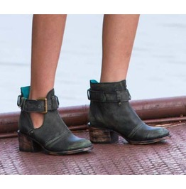 Untitled Vintage Relic Black & Turquoise Leather Ankle Boots